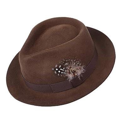 0330010b1d0 Deevoov 100% Wool Felt Men's Fedora Outback Trilby Hat Snap Brim Cap with  Hat Band