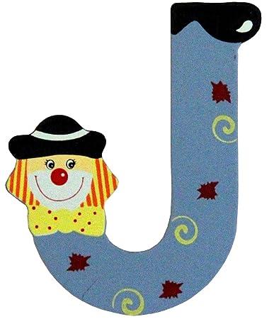 Holzbuchstaben und Zahlen- Clowns - mit Klebepad in zufälliger Farbe ...