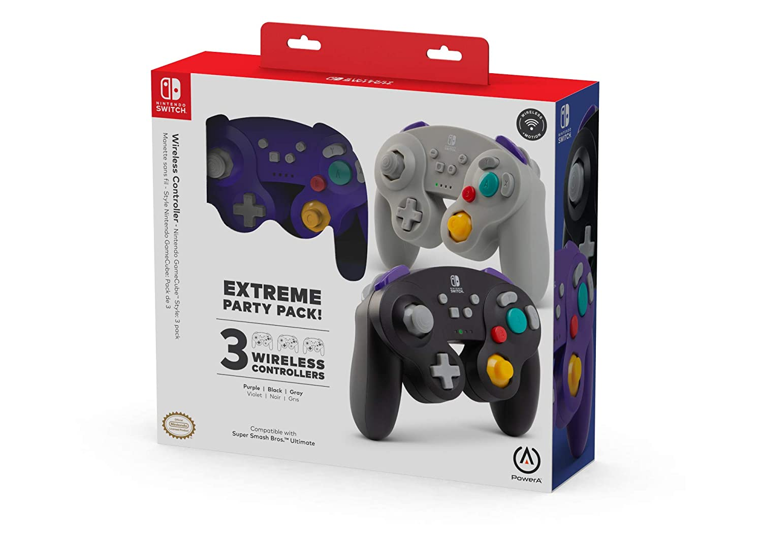 PowerA Extreme Party Pack! Wireless Controller for Nintendo Switch - GameCube Style: 3 Pack - Nintendo Switch