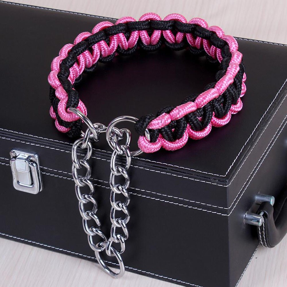 NOVMAY Braided Nylon Heavy Duty Martingale Dog Collar for Medium and Large Dog (L (15.7''-19.6''), Black and Pink)