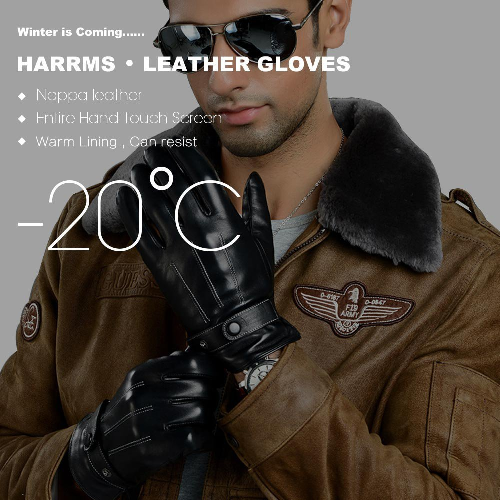 Harrms Best Luxury Touchscreen Italian Nappa Leather Gloves for men's Texting Driving (XL-9.4''(US Standard Size), BLACK) by Harrms (Image #2)