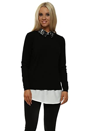 2cc39f22ee8 Laetitia Mem Contrast Lace Collar Black Shirt Jumper One Size Black   Amazon.co.uk  Clothing