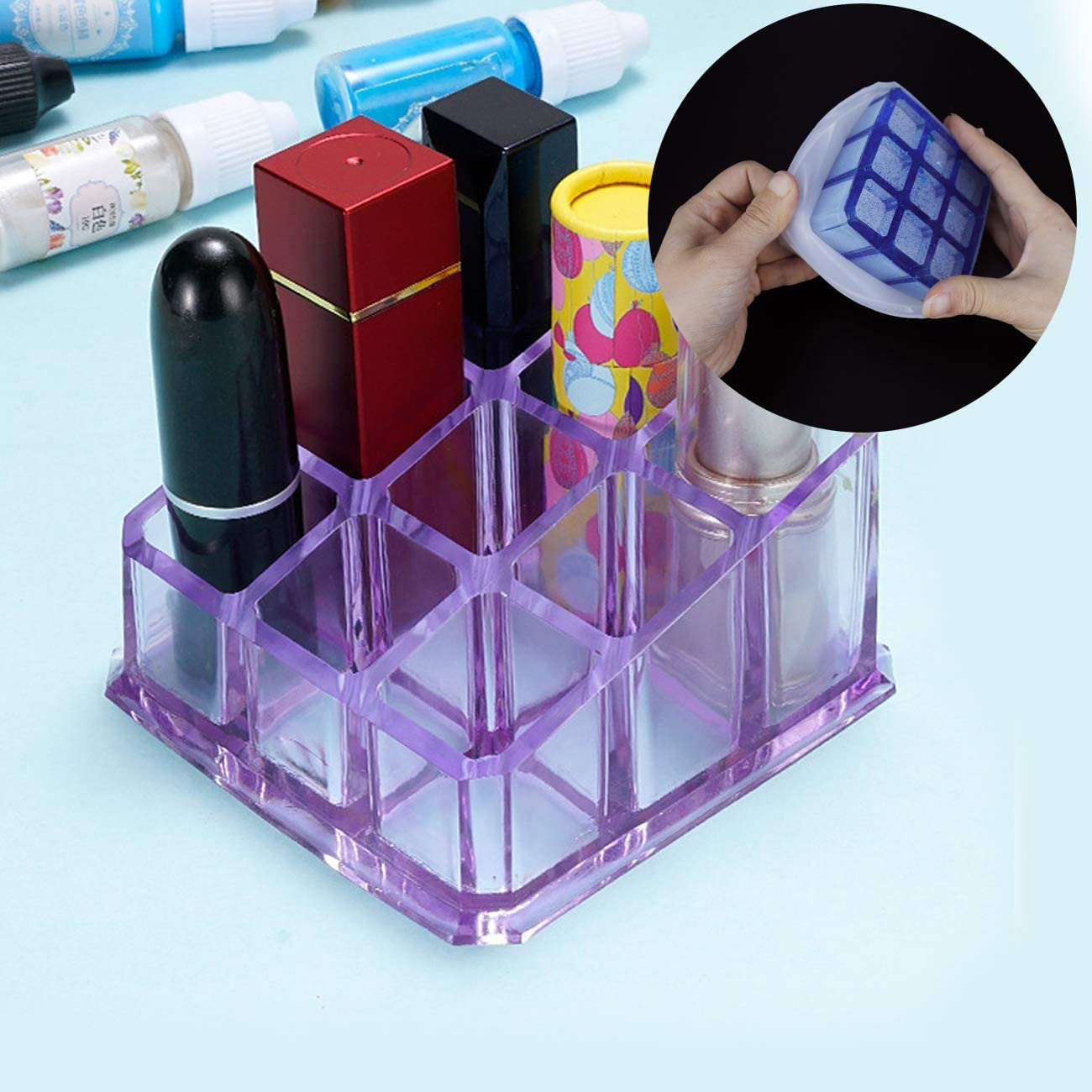 Silicone Jewelry Box Molds with 9-Slot Lipstick Organizer Molds Mity rain Box Resin Molds 3D Crown Jewelry Storage Box and Pyramid Trinket Epoxy Mold for DIY Art Casting Resin