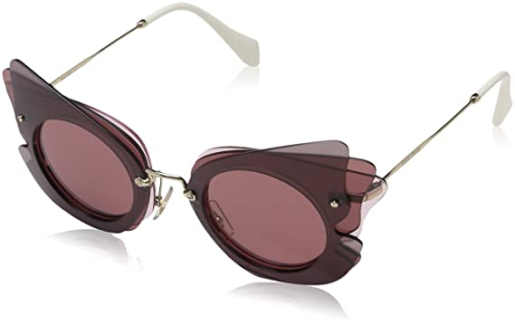 c160d2205c8 Miu Miu MU02SS VA50A0 Dark Brown Pink MU02SS Cats Eyes Sunglasses ...