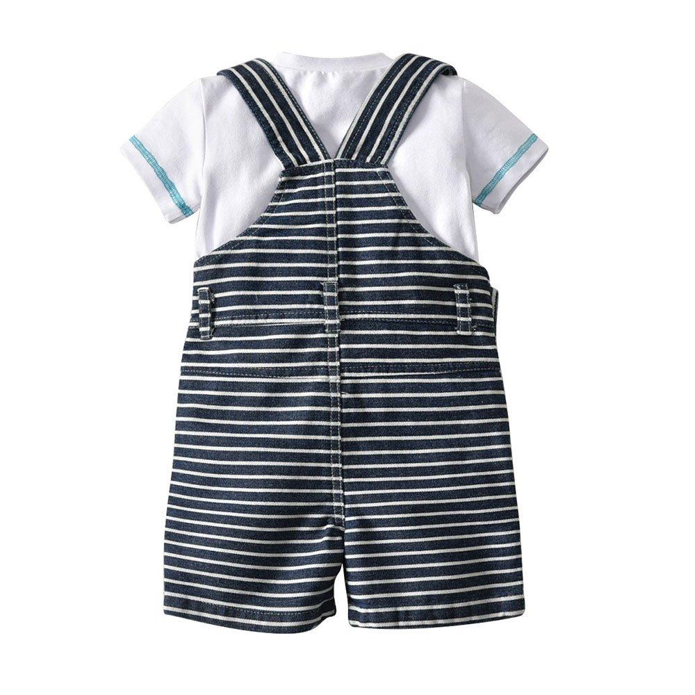 Efaster Summer Baby Boys Gentleman Suit T-Shirt+Striped Strap Shorts+Hat Set