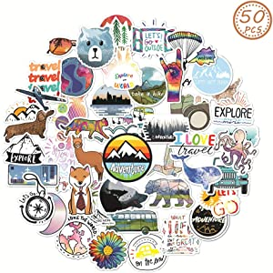 MSOLE 50PCS Cute Waterproof Outdoors Adventure Theme Vsco Stickers for Water Bottles Laptop HydroFlasks Camping Travel Aesthetic Trendy Decals for Mac Computer Phone Guitar for Kids Teens Boys