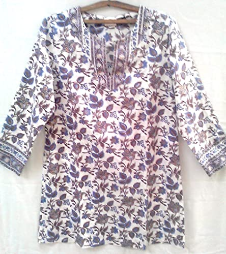 83ab8a2654b Amazon.com: Blue & Taupe Chinoiserie Floral Anokhi Hand block print ...