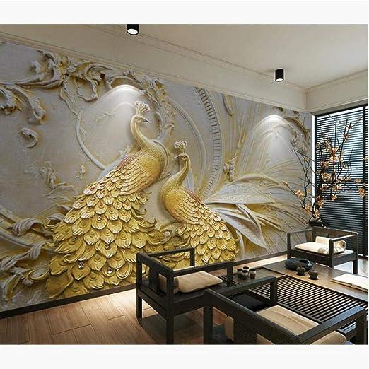 Guyuell Custom Photo Murals Wallpaper 3D En Relieve Golden Peacock ...
