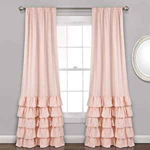 "Lush Decor Allison Ruffle Curtains Window Panel Set for Living, Dining Room, Bedroom (Pair), 84"" L, Blush"