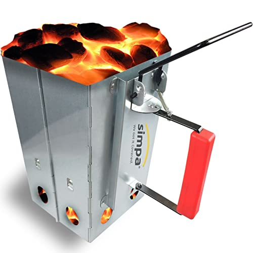 SIMPA® Large Chimney Charcoal Coal Starter BBQ Coal Fire Fast Lighter Grill Quick Start Galvanised Steel Camping Fire Ignition Lighter Coal Fuel Burner Lighting Kit Square 27cm (H) x 22cm (W)