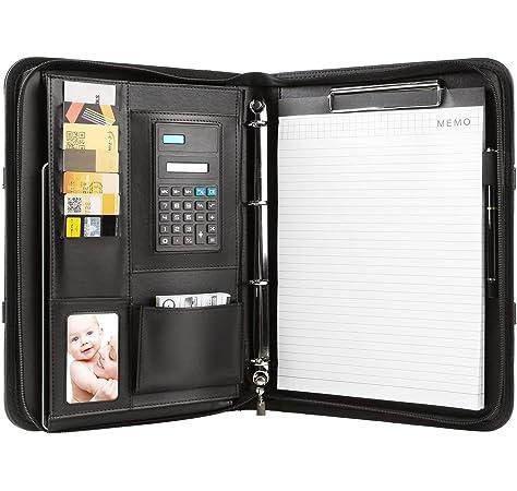 Portadocumento Piel 34 x 25 cm Compartimento para Tablet Portafolio Piel con Cremallera Negro Wilbest/® Carpeta de Conferencia A4 Portadocumentos 5 Ranuras para Tarjeta Doble Asas Magn/éticas