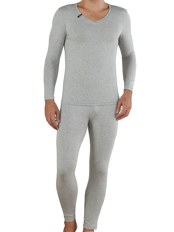 Godsen Mens Two Piece Long Johns Thermal Underwear Set (L, Light Grey) GMW9001