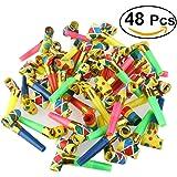 Tinksky 48pcs Party Horns Tube Noiseless Blowouts Noisemakers(Random Color)