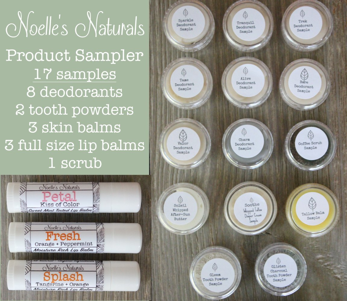 Natural Product Sampler - 17 pack variety samples - Natural Deodorant - Tallow Balm - Tooth Powder - Lip Balm - Organic