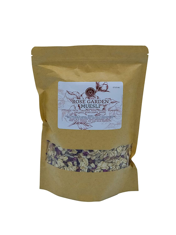 Rose Garden Muesli / Oatmeal, 17 oz, All-Natural, Organic Oats, Rose Petals, Almonds & Sunflower Seeds | No Sugar | Science of Life | Non-GMO | Vegan - Science of Life