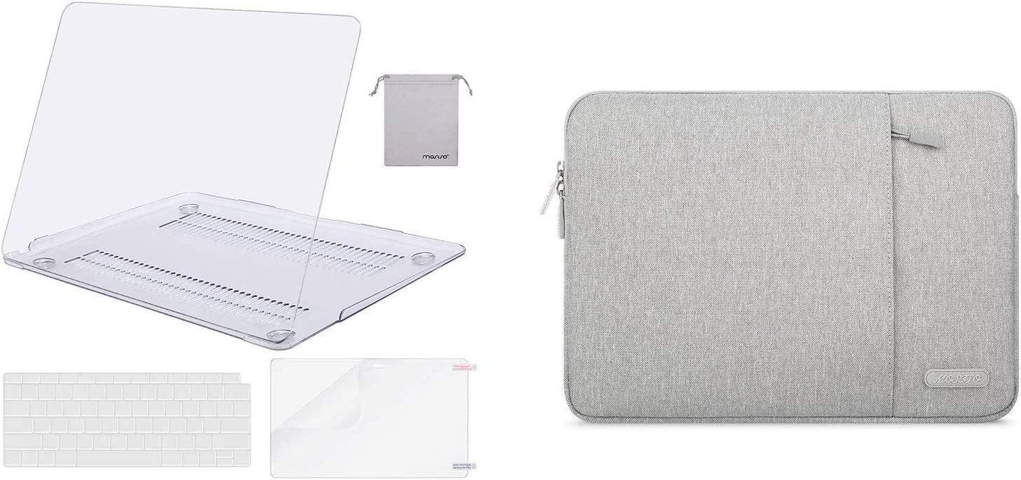 MOSISO Plastic Hard Shell Case & Vertical Sleeve Bag Compatible with MacBook Air 13 inch 2020 2019 2018 Release A2179 A1932
