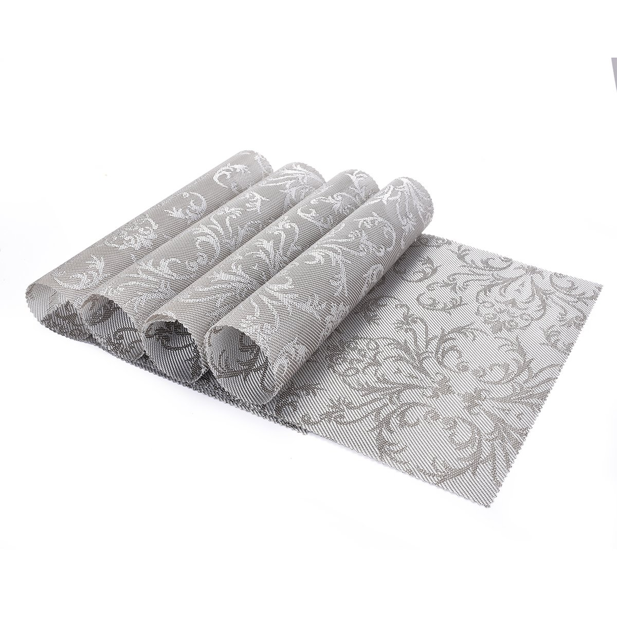OZCHIN Placemats Dining Kitchen Table Non-slip Insulation Placemat Washable Table Mats Set of 4 Silver by OZCHIN (Image #2)