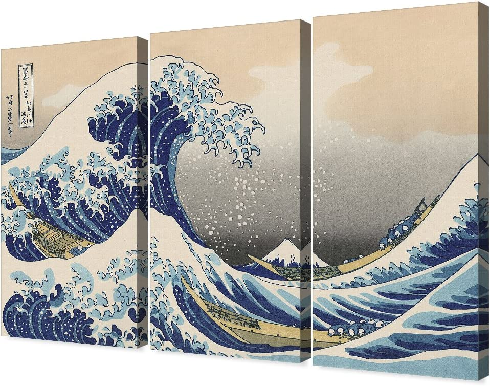 The Great Wave Off KANAGAWA JAPAN Coast Painting Real Canvas Fine Art Print New