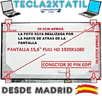 Pantalla Compatible DE Y para PORTATIL Toshiba Satellite P50-A-12Z 15,6 WUXGA 1920x1080 Full HD LCD LED 30 Pin EDP Ver Foto: Amazon.es: Electrónica