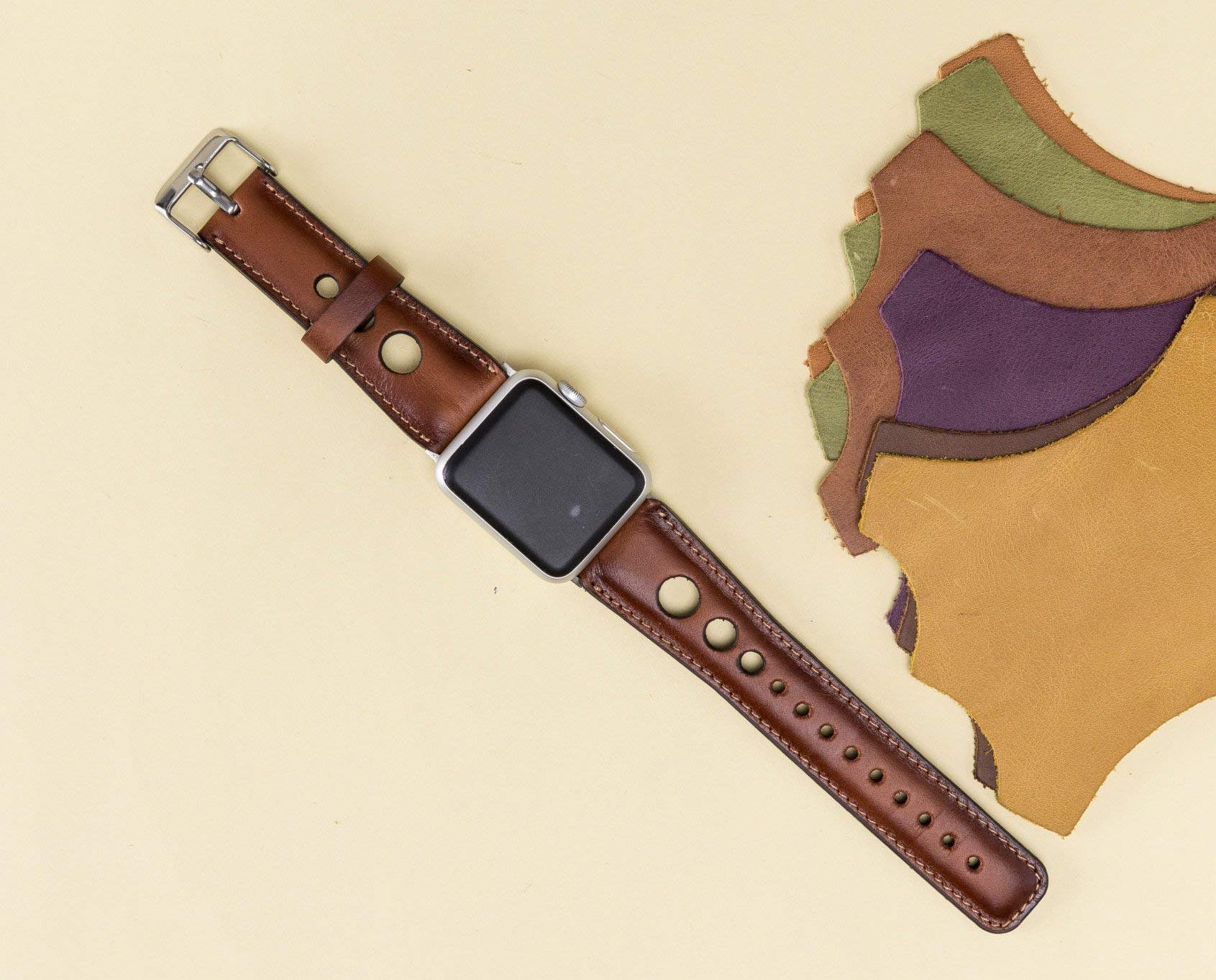 Leather Apple Watch Band 42mm, 38mm, Apple Watch Strap Brown 42mm 38mm Man or Women, Handmade, Genuine Leather, Distressed Leather