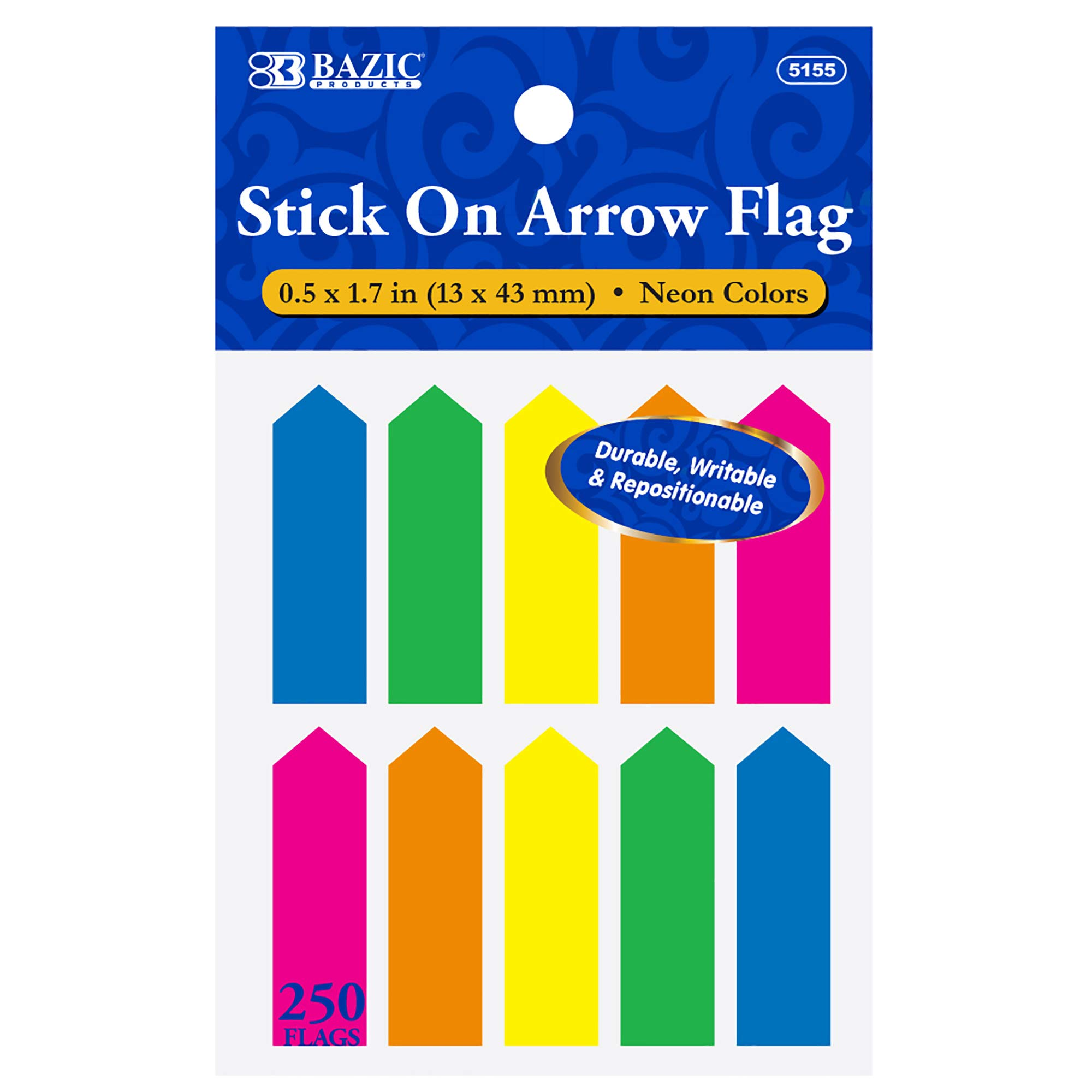 BAZIC 25 Ct. 0.5'' X 1.7'' Neon Color Arrow Flags (10/Pack) (Box of 24) by B BAZIC PRODUCTS