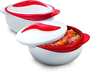 Pinnacle Serving Salad/ Soup Dish Bowl - Thermal Insulated Bowl with Lid -Great Bowl for Holiday, Dinner and Party~ Set of 2 (Red)