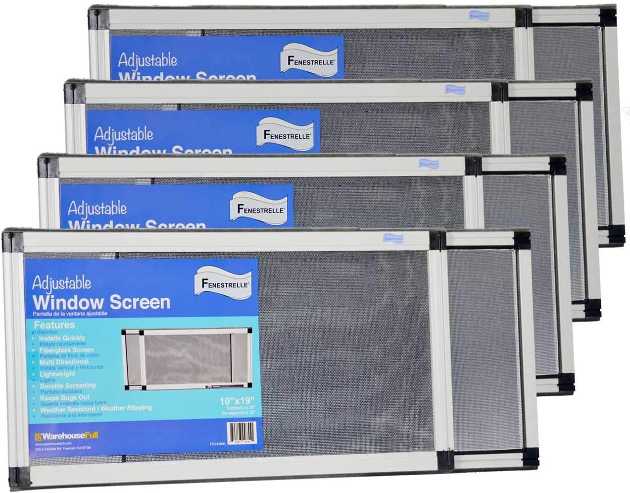"Fenestrelle Adjustable Window Screen, 2 Way Adjustable, Horizontal, (10"" fits 19-36""w) or Convert to Vertical (19"" fits 10-18""w) - 4 Pack"