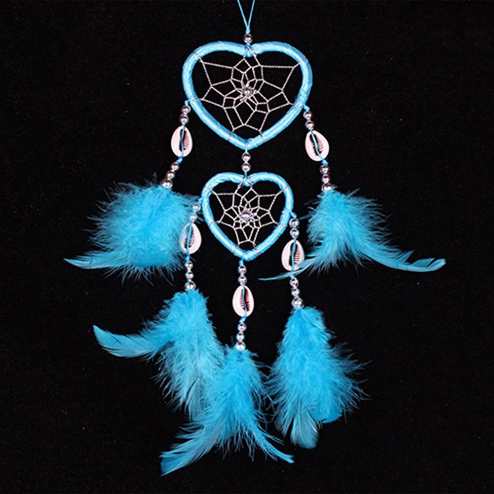 Bluelans® Dream Catcher Heart Shape with Feathers Wall Hanging Decoration Craft Gift (Pink)