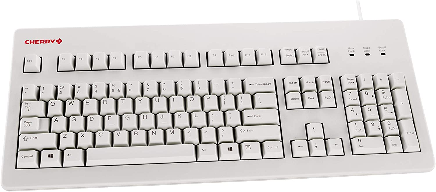 white silient Cherry keyboard shown straightforward