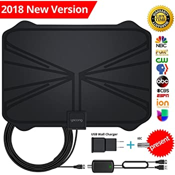 【Updated 2018 Version】 Professional TV Antenna-Indoor Digital HDTV Antennas Amplified 60-100 Mile Range 4K HD VHF UHF Freeview for Life Local Channels and ...