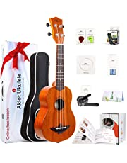 AKLOT Soprano Ukulele Solid Mahogany Ukelele 21 inch Beginners Starter Kit with Free Online Courses and Ukulele Accessories (AKS21)