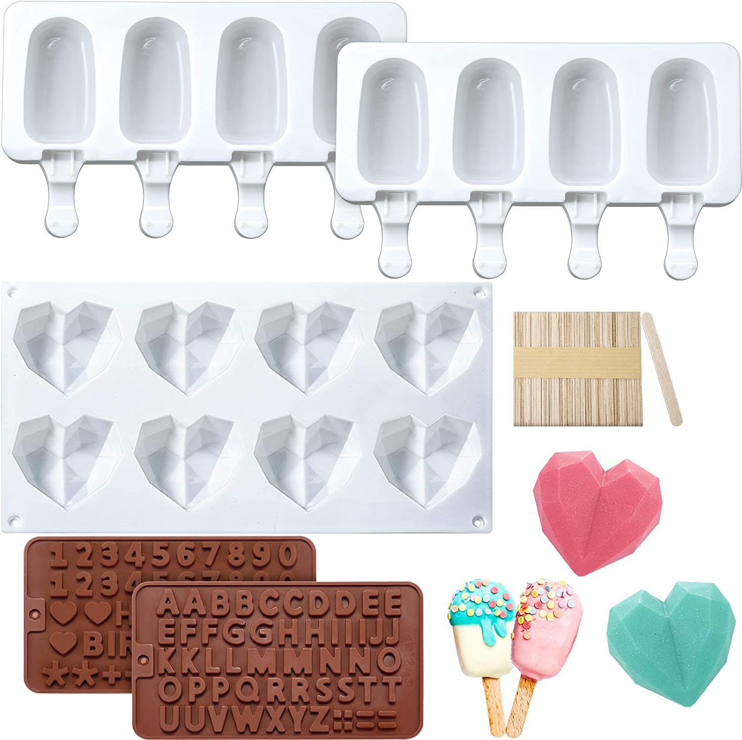 Silicone Diamond Heart Mold 8 Cavities Heart Shaped Cake Mold 2 Pieces Silicone Popsicle Molds 4 Cavities Ice Pop Molds with 50 Pieces Wooden Sticks, 2 Pieces Letter Number Chocolate Molds for Baking
