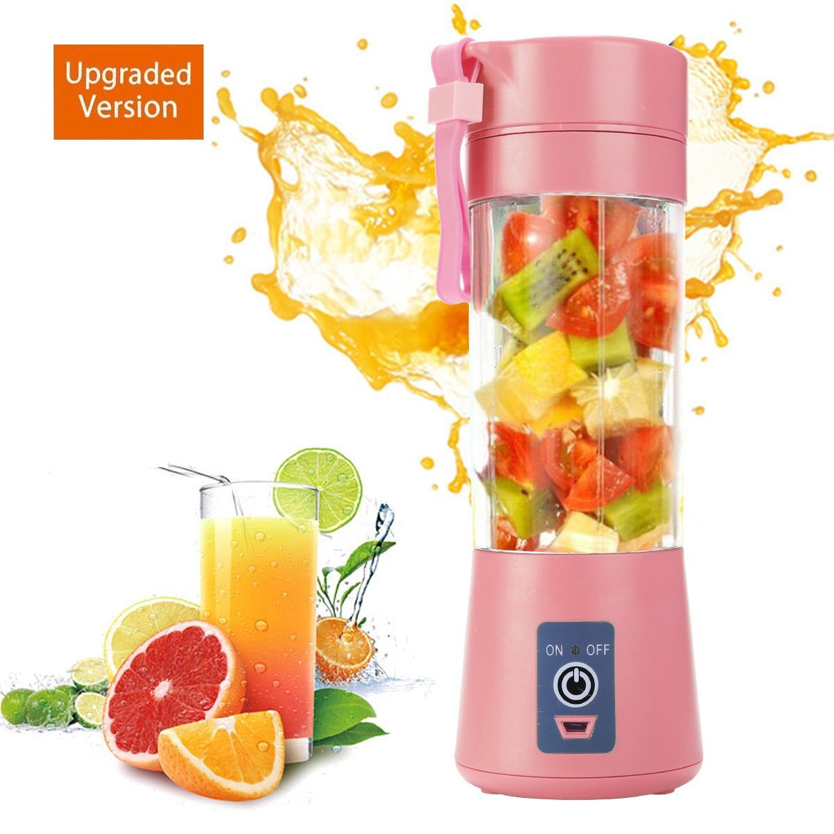 Personal Blender USB Juicer Cup Portable Juicer Blender 6 Blades Rechargeable Fruit Mixing Machine For Baby Travel 380ml[New Version] (Pink)