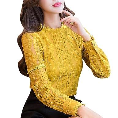Weiß Frauen Satin Button Down Solid Kragen Shirts Langarm Bluse
