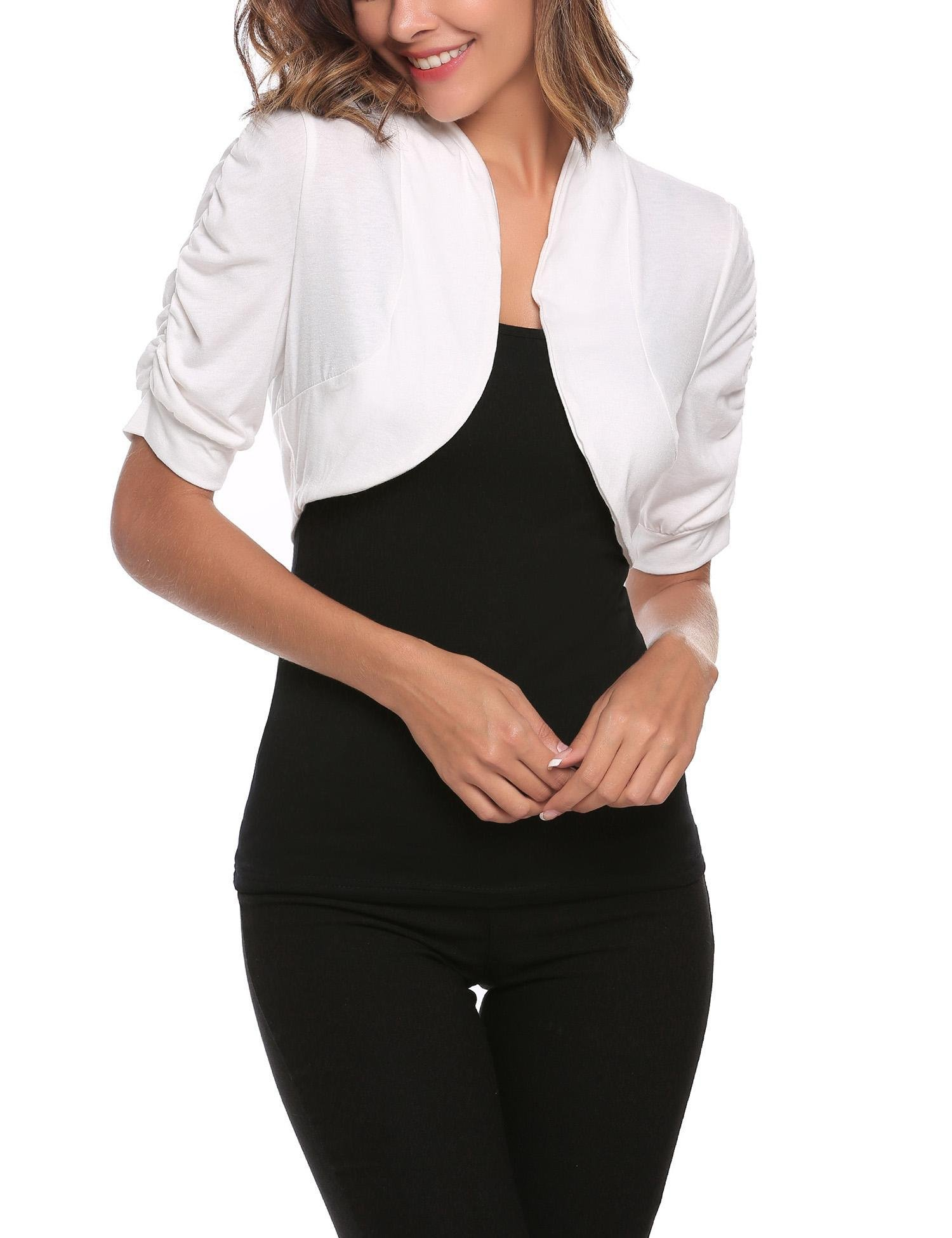 Elesol Women Summer Beach Casual Bolero Shrug Floral Lace Classic 3/4 Sleeve Tops White/XL