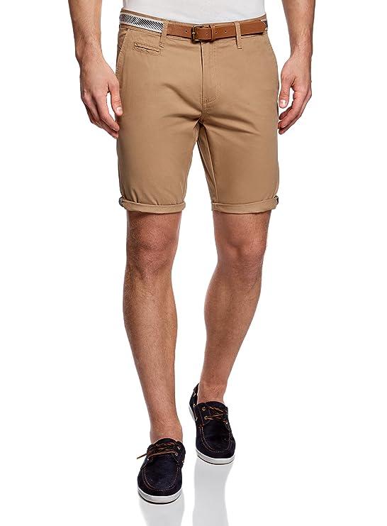 oodji Ultra Hombre Pantalón Corto de Algodón con Cinturón