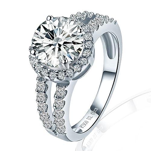 2 Ct 4,5 – 10 VVS1 nscd simular diamantes anillo de compromiso 4 dientes
