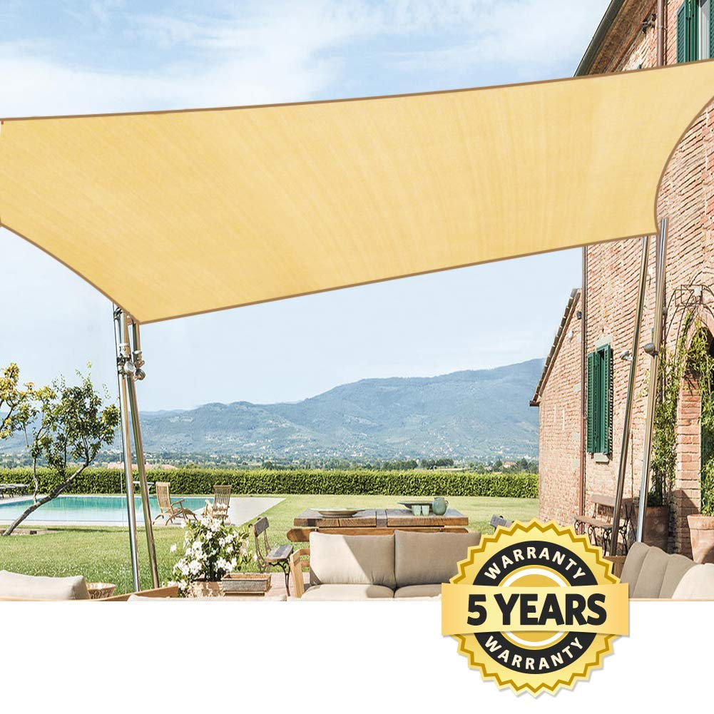 Quictent 185G HDPE Rectangle Sun Shade Sail Canopy 98 UV Block Top Outdoor Cover Patio Garden 12x16ft, Sand