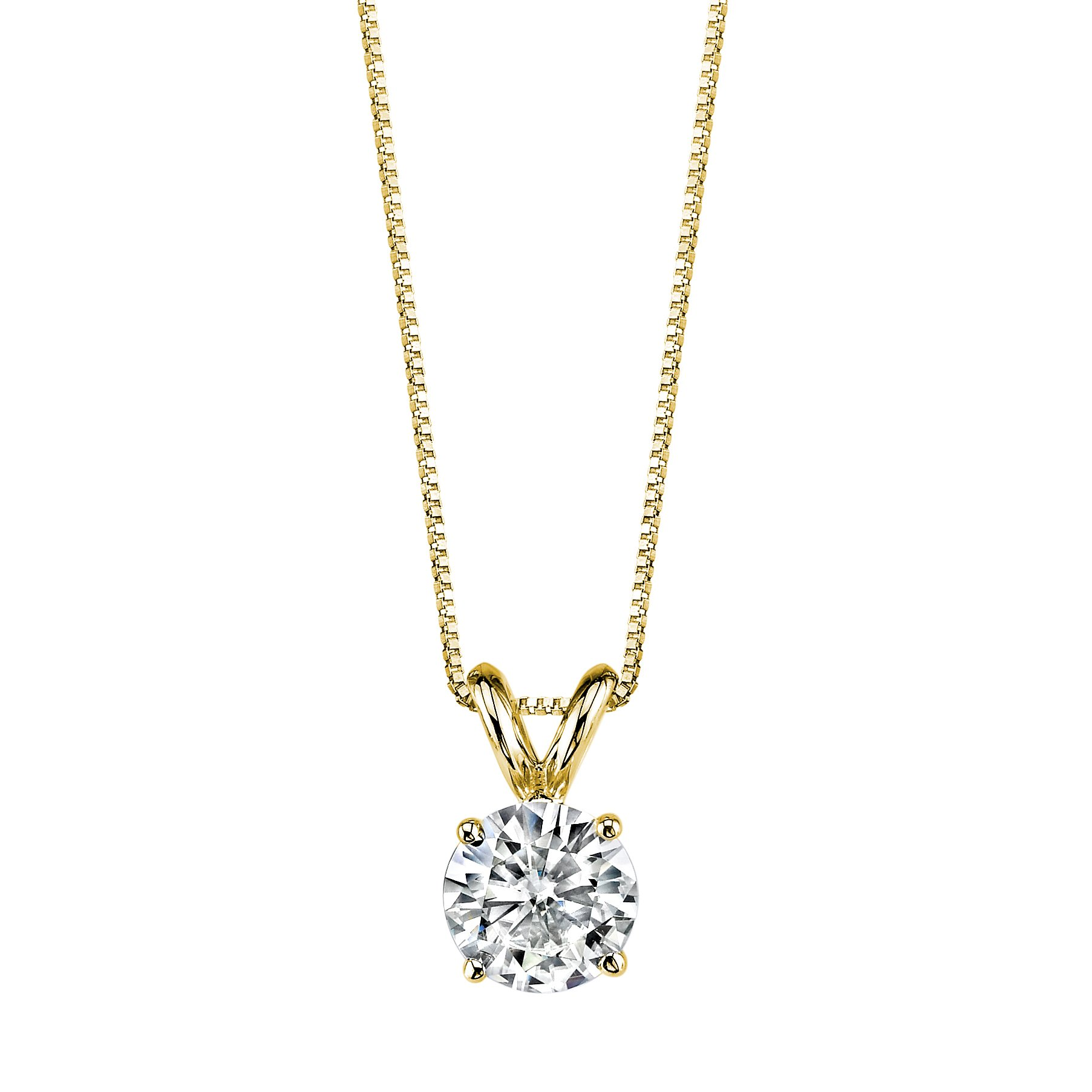 Forever One Round 6.5mm Moissanite Pendant Necklace, 1.00ct DEW (G-H-I) By Charles & Colvard