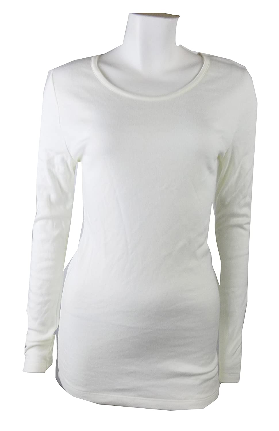 Ladies Cream Thermal Top Long Sleeve Crew Neck Top Layer Base 8 10 12 18