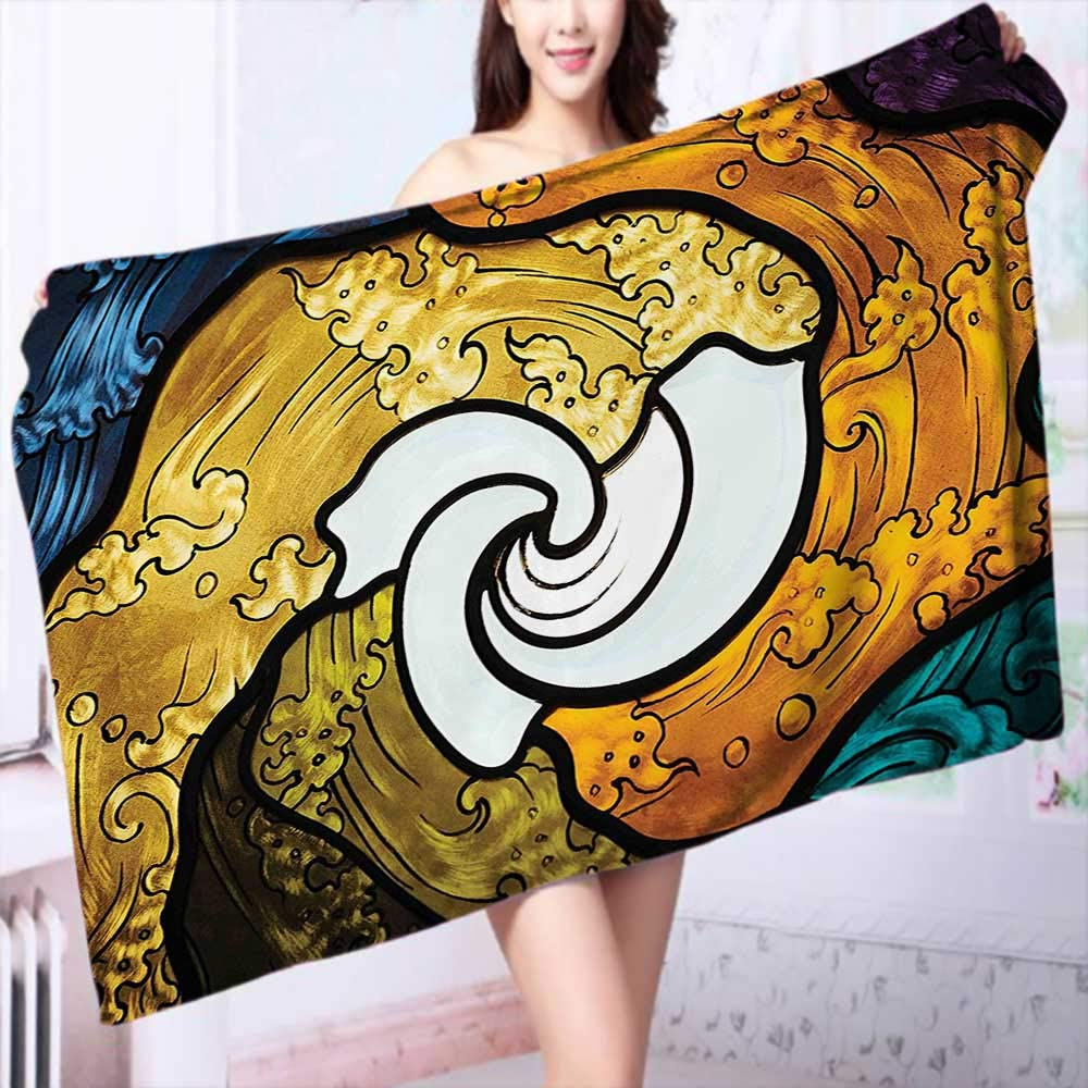 100% Cotton Super Absorbent Pop Art Style Funky Unusual Stained Glass Window Thai Art Pattern Traditional Image Multipurpose Quick Drying