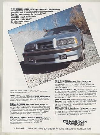 1986 Ford Kolb Thunderbird Aero GT Turbo Brochure Blauvelt NY