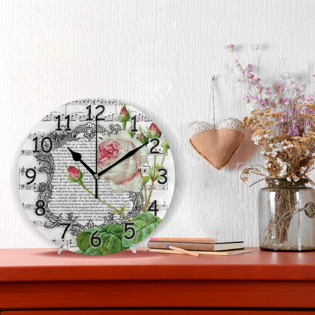 Amazon.com: Jacksome Round Wall Clock Vintage Style Design Round Decorative Wall Clock for Bedroom Decor: Home & Kitchen