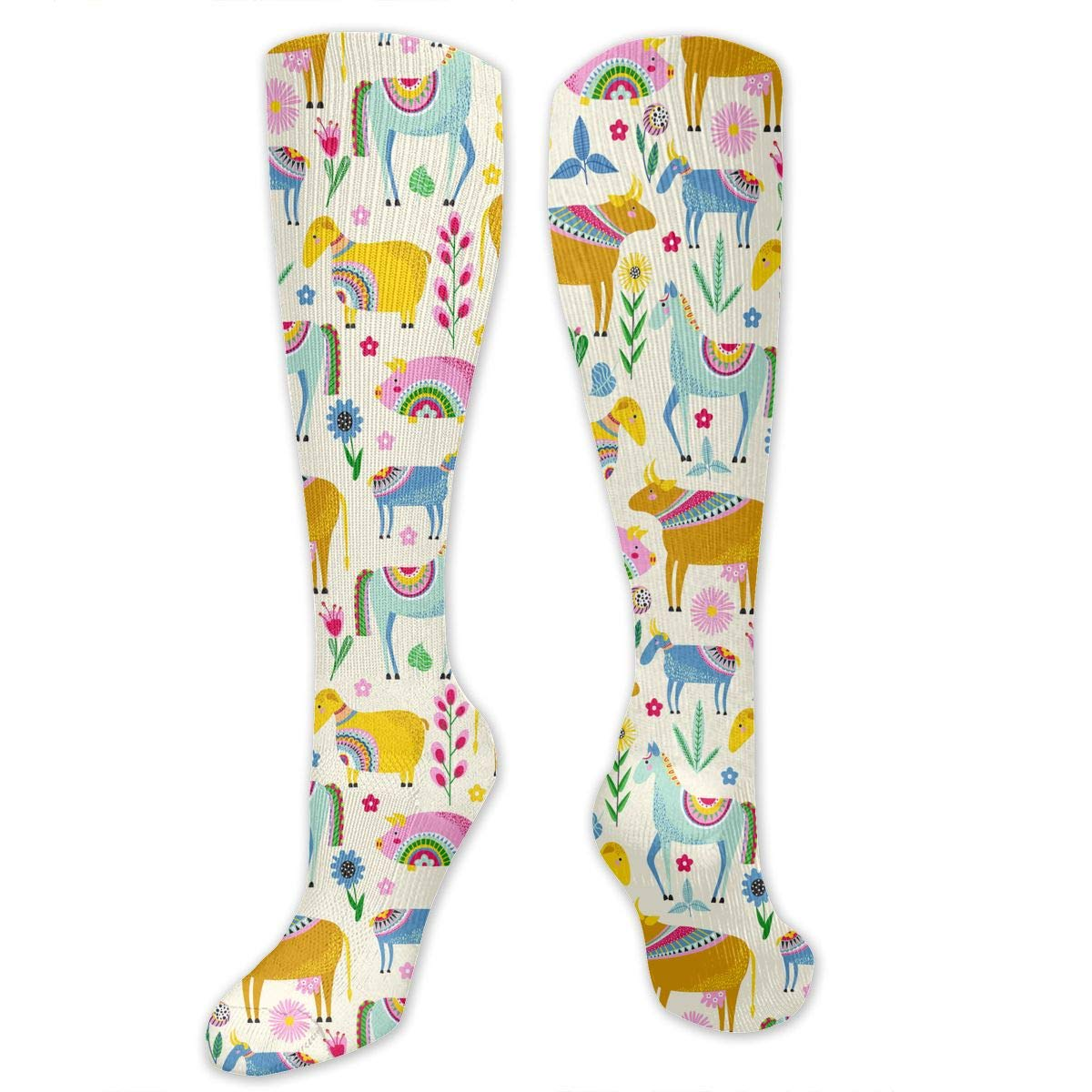 Unisex Animals And Flowers Pattern Knee High Compression Thigh High Socks Tube Socks