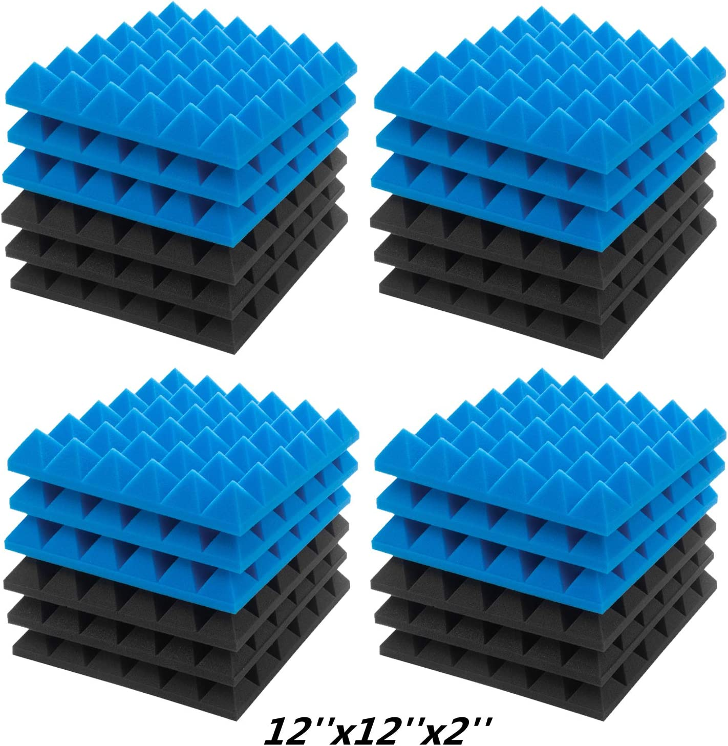 """JBER Acoustic Sound Foam Panels, 24 Pack 2"""" X 12"""" X 12"""" Blue and Black Soundproofing Treatment Studio Wall PaddingSound Absorbing Fireproof Pyramid Acoustic Treatment"""