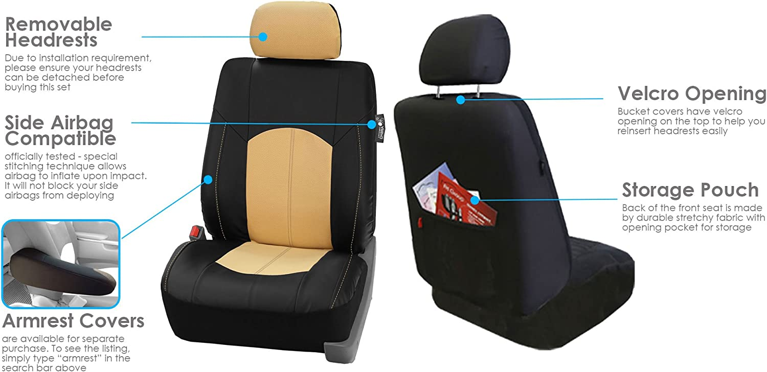 Universal Fit Full Set with Gift FH Group PU008115 Highest Grade Faux Leather Seat Covers Gray