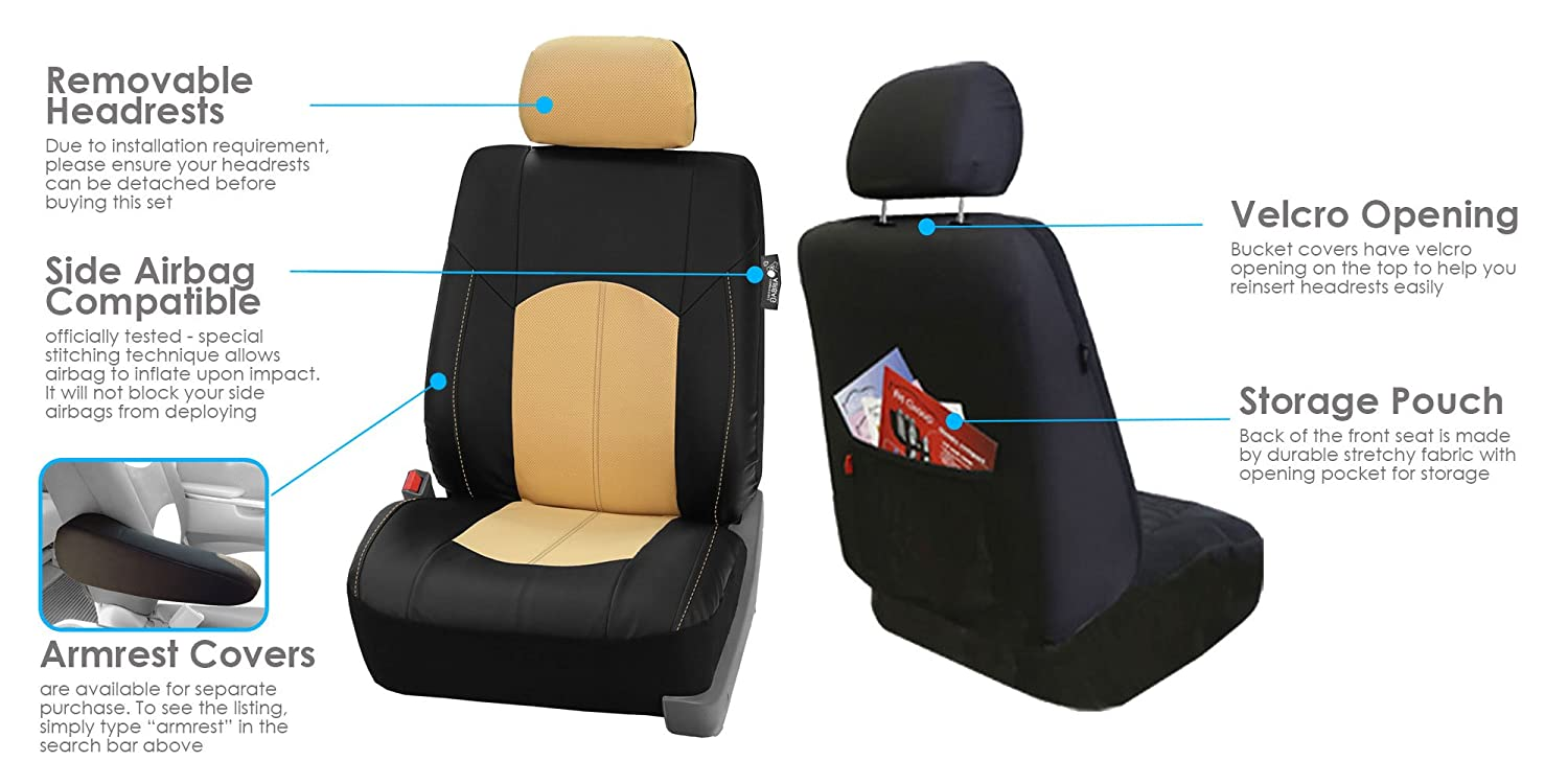 FH-PU002-1102 Classic Exquisite Leather Car Seat Covers Beige color Airbag compatible