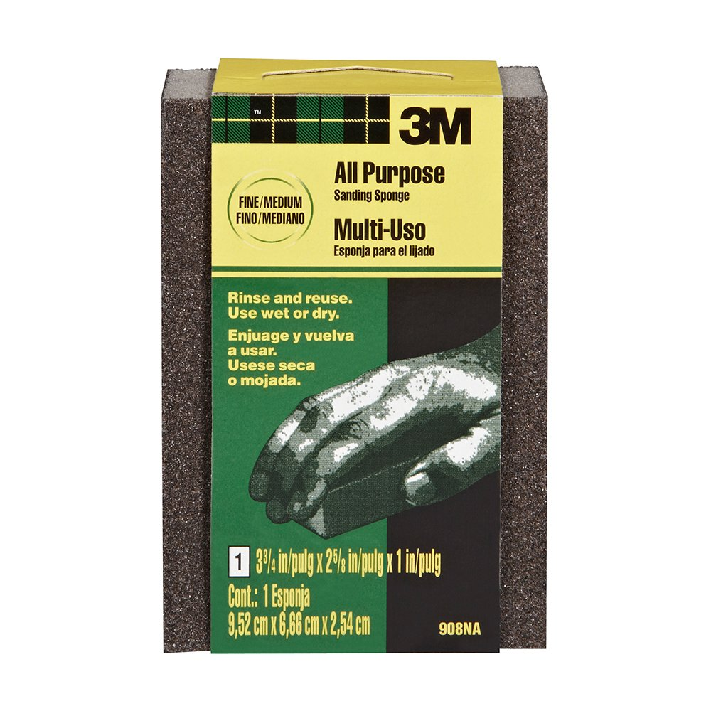 3.75-Inch by 2.625-Inch by 1-Inch 3M Small Area Sanding Sponge Medium//Coarse