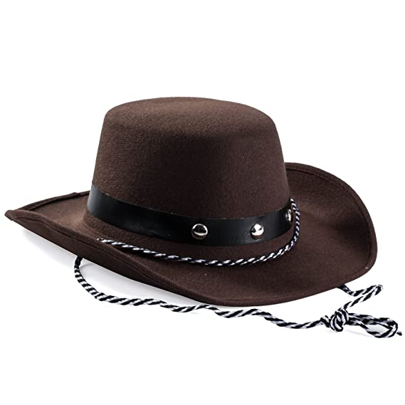 f214880e Amazon.com: Baby Cowboy Hat - Cowboy Hat Toddler – Studded Cowboy Hat -  Brown Felt Cowboy Hat - Cowboy Accessories by Funny Party Hats: Sports &  Outdoors
