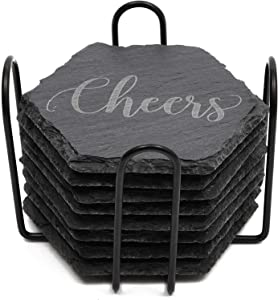 Black Slate Stone Coasters Set in Hexagon Shape with Steel Stand (4 in, 8 Pack)